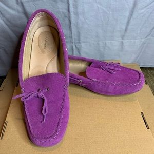 Vibrant purple suede loafers